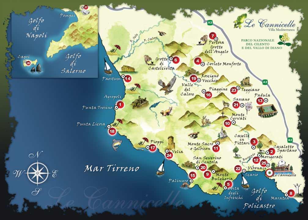 mappa parco del cilento
